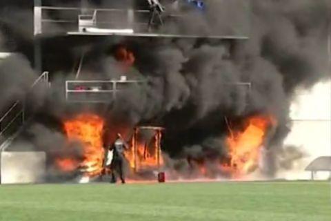 Τεράστια φωτιά ξέσπασε στο εθνικό Στάδιο της Ανδόρας μόλις 24 ώρες πριν το ματς με την Αγγλία