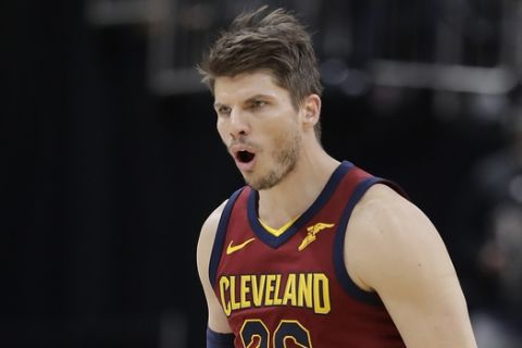 Cleveland Cavaliers' Kyle Korver reacts after hitting a 3-point shot during the second half of Game 4 of a first-round NBA basketball playoff series against the Indiana Pacers, Sunday, April 22, 2018, in Indianapolis. Cleveland won 104-100. (AP Photo/Darron Cummings)