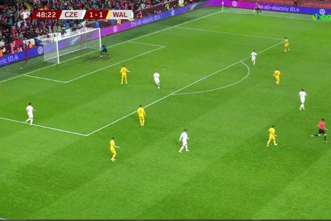 Στιγμιότυπο από την αναμέτρηση της Τσεχίας με την Ουαλία στα προκριματικά του Παγκοσμίου Κυπέλλου   8 Οκτωβρίου 2021