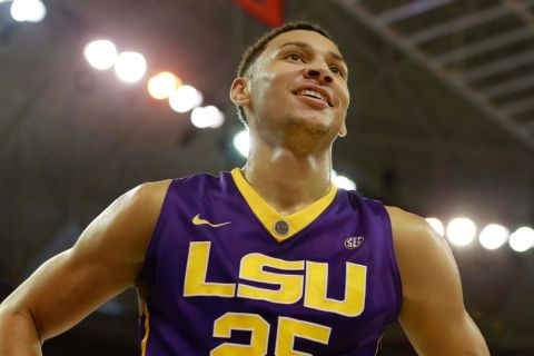 Jan 9, 2016; Gainesville, FL, USA; LSU Tigers forward Ben Simmons (25) smiles as he looks on against the Florida Gators during the first half at Stephen C. O'Connell Center. Mandatory Credit: Kim Klement-USA TODAY Sports