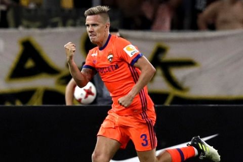 CSKA Moscow's Pontus Wernbloom celebrates after scoring the second goal of his team against AEK Athens during a soccer match for the third qualifying round of Champions League at Olympic stadium of Athens, Tuesday, July 25, 2017. (AP Photo/Thanassis Stavrakis)