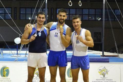 Οι νικητές των μεταλλίων στο σύνθετο ατομικό στο φετινό πανελλήνιο πρωτάθλημα, Νίκος Ηλιόπουλος, Αντώνης Τανταλίδης και Σταύρος Γκίνης (από αριστερά προς δεξιά), θα βρίσκονται μεταξύ των εκπροσώπων της Εθνικής ανδρών στο παγκόσμιο πρωτάθλημα ενόργανης του Οκτωβρίου.