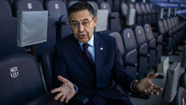 "In this Friday, Nov. 8, 2019, photo, President of FC Barcelona Josep Bartomeu speaks during and interview with the Associated Press at the Camp Nou stadium in Barcelona, Spain. Bartomeu told The Associated Press on Friday that ""we are preparing this post Messi era."" (AP Photo/Emilio Morenatti)"