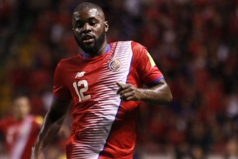 Costa Rica's Joel Campbell during a 2018 World Cup qualifying soccer match against United States in San Jose, Costa Rica, Tuesday, Nov. 15, 2016. (AP Photo/Moises Castillo)