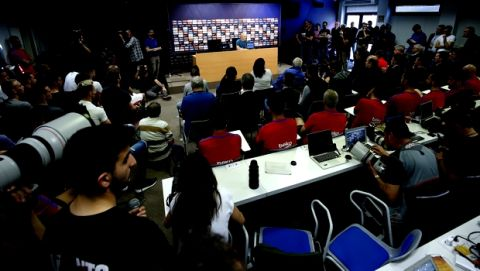 """F.C. Barcelona player Andres Iniesta during a news conference announcing he is leaving the club, in Barcelona, Spain, Friday, April. 27, 2018. Andres Iniesta says that he will leave Barcelona this summer after 16 trophy-packed seasons with the Spanish club. Iniesta, who turns 34 on May 11, says Friday """"this season is the last."""" (AP Photo/Manu Fernandez)"""