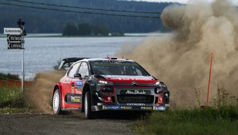 Mads Ostberg (NOR), Torstein Eriksen (NOR) perform during FIA World Rally Championship 2018 in Jyvaskyla, Finland on 27.07.2018