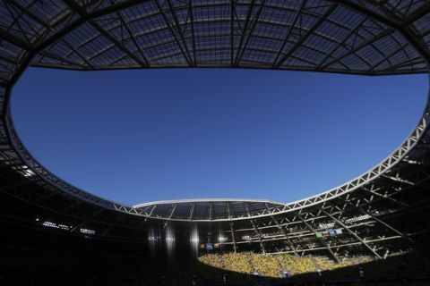 A view of the Samara Arena during the group H match between Senegal and Colombia, at the 2018 soccer World Cup in Samara, Russia, Thursday, June 28, 2018. (AP Photo/Gregorio Borgia)