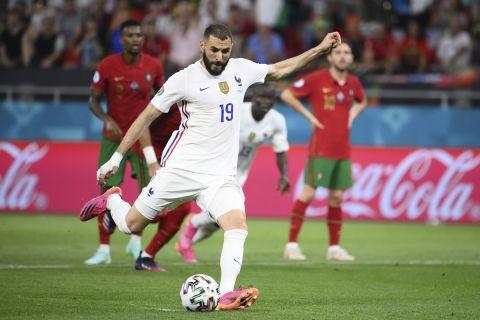 Ο Καρίμ Μπενζεμά σκοράρει με την εθνική Γαλλίας κόντρα στην Πορτογαλία στο Euro 2020