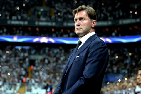 Leipzig head coach Ralph Hasenhuttl watches the game during the Champions League group G soccer match between Besiktas and RB Leipzig at the Vodafone Park Stadium in Istanbul, Tuesday, Sept. 26, 2017. (AP Photo)