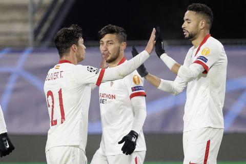 Ο Γιουσέφ Εν-Νεσιρί πανηγυρίζει γκολ του με την φανέλα της Σεβίλλης κόντρα στην Ρεν στο Champions League   8 Δεκεμβρίου 2020