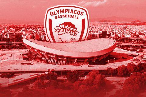 Το ΣΕΦ σε ερυθρόλευκο φόντο με το σήμα της ΚΑΕ Ολυμπιακός