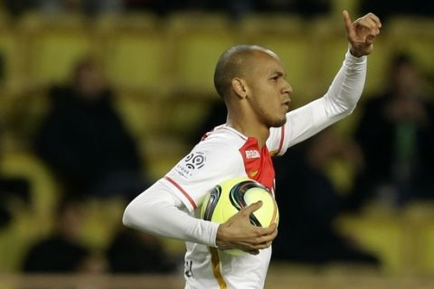 Monaco's Fabinho reacts after scoring the first goal for Monaco during the French League One soccer match against Ajaccio, in Monaco stadium, Saturday, Jan. 9 , 2016. (AP Photo/Lionel Cironneau)