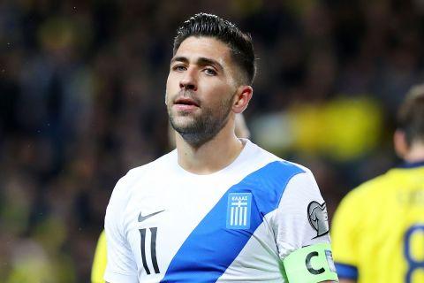 Ο Μπακασέτας απογοητευμένος στη διάρκεια της αναμέτρησης Σουηδία - Ελλάδα | 12 Οκτωβρίου 2021