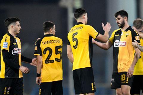Οι παίκτες της ΑΕΚ στο πλαίσιο αγώνα πρωταθλήματος με την Λαμία (2020-21)