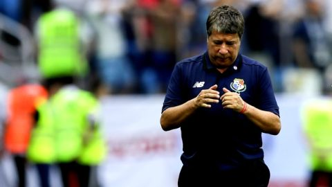 Panama head coach Hernan Dario Gomez reacts after England scored it's fifth goal during the group G match between England and Panama at the 2018 soccer World Cup at the Nizhny Novgorod Stadium in Nizhny Novgorod , Russia, Sunday, June 24, 2018. (AP Photo/Alastair Grant)