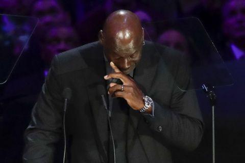 Ο Μάικλ Τζόρνταν στο μνημόσυνο για τον Κόμπι Μπράιαντ στο Staples Center