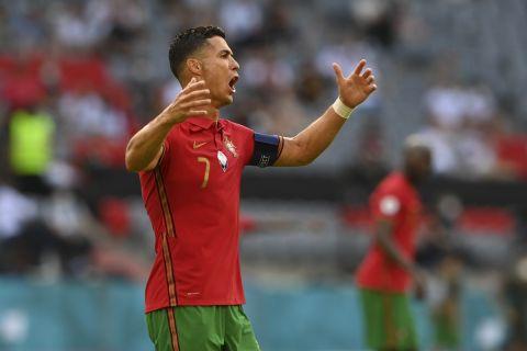 Ο Κριστιάνο Ρονάλντο με τη φανέλα της Πορτογαλίας κατά τη διάρκεια του αγώνα με την Γερμανία για το Euro 2020