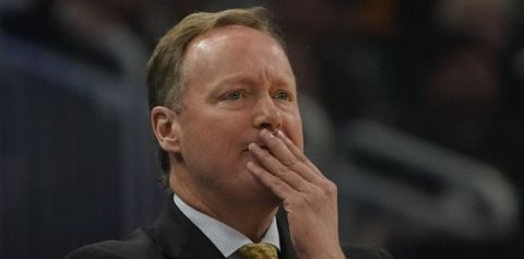 Milwaukee Bucks head coach Mike Budenholzer reacts during the first half of Game 2 of the NBA Eastern Conference basketball playoff finals against the Toronto Raptors Friday, May 17, 2019, in Milwaukee. (AP Photo/Morry Gash)