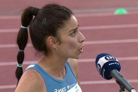 Η Ανθή Κυριακοπούλου μετά τη νίκη της στα 1.500 μέτρα στο Πανελλήνιο πρωτάθλημα /5 Ιουνίου 2021