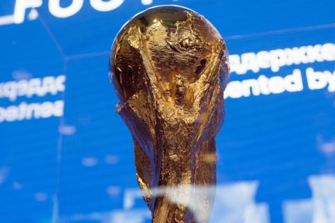 The FIFA World Cup trophy is on display during the opening of the FIFA World football museum in Moscow, Russia, Friday, June 8, 2018. The 21st World Cup begins on Thursday, June 14, 2018, when host Russia takes on Saudi Arabia. (AP Photo/Alexander Zemlianichenko Jr)