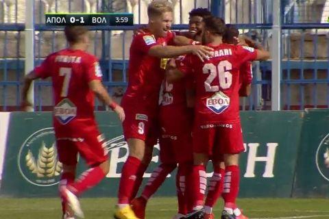 Οι παίκτες του Βόλου πανηγυρίζουν το γκολ του Φερνάντες επί του Απόλλωνα Σμύρνης | 19 Σεπτεμβρίου 2021