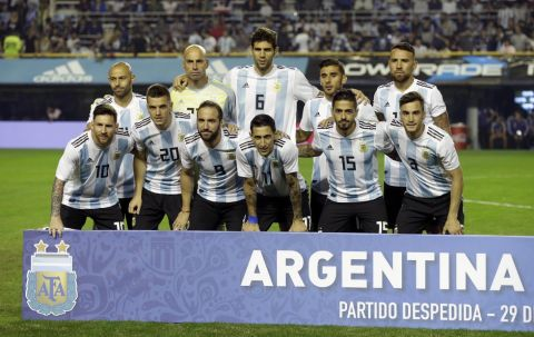 The Argentina national soccer team poses for a photo prior to the start of a friendly soccer match between Argentina and Haiti in Buenos Aires, Argentina, Tuesday, May 29, 2018. (AP Photo/Victor R. Caivano)