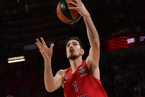 Moscow's Nando De Colo jumps for a layup during the Euroleague Final Four semifinal basketball match between CSKA Moscow and Real Madrid at the Fernando Buesa Arena in Vitoria, Spain, Friday, May 17, 2019. (AP Photo/Alvaro Barrientos)
