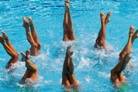 Στιγμιότυπο από αγώνα συγχρονισμένης κολύμβησης στο Ρίο