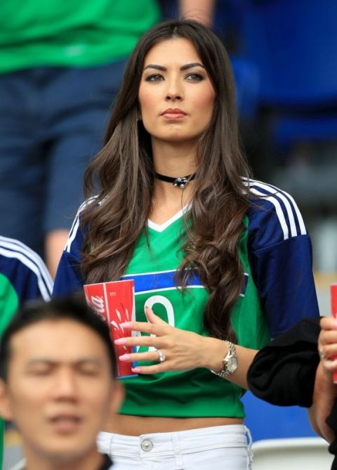 Vanessa Chung, wife of Northern Ireland's Kyle Lafferty in the stands before the UEFA Euro 2016, Group C match at the Parc Des Princes, Paris. PRESS ASSOCIATION Photo. Picture date: Tuesday June 21, 2016. See PA story SOCCER N Ireland. Photo credit should read: Mike Egerton/PA Wire. RESTRICTIONS: Use subject to restrictions. Editorial use only. Book and magazine sales permitted providing not solely devoted to any one team/player/match. No commercial use. Call +44 (0)1158 447447 for further information.