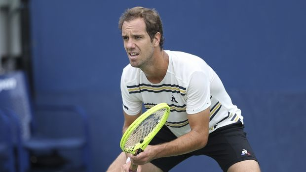 Richard Gasquet, of France, awaits serve from Matteo Berrettini, of Italy, during the first round of the U.S. Open tennis tournament, Tuesday, Aug. 27, 2019, in New York. (AP Photo/Vera Nieuwenhuis)