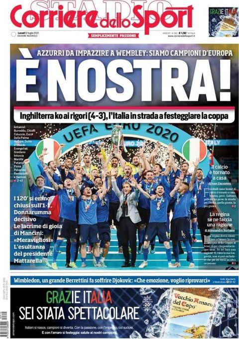 Το πρωτοσέλιδο της Corriere dello Sport μετά την κατάκτηση του Euro 2020 από την εθνική Ιταλίας