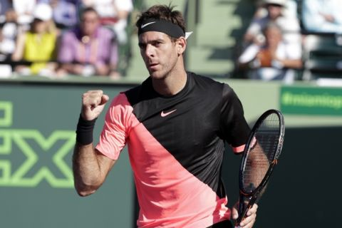 Juan Martin del Potro, of Argentina, reacts after defeating Kei Nishikori, of Japan, during the Miami Open tennis tournament, Sunday, March 25, 2018, in Key Biscayne, Fla. Del Potro won 6-2, 6-2. (AP Photo/Lynne Sladky)