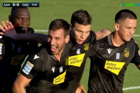 Οι παίκτες της Λαμίας πανηγυρίζουν το γκολ του Μαζουλουξή κόντρα στον Παναιτωλικό