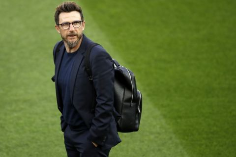 Roma's manager Eusebio Di Francesco looks on at Anfield, Liverpool, England, Monday, April 23, 2018. Roma will play a Champions League semi final first leg soccer match on Tuesday. (Martin Rickett/PA via AP)