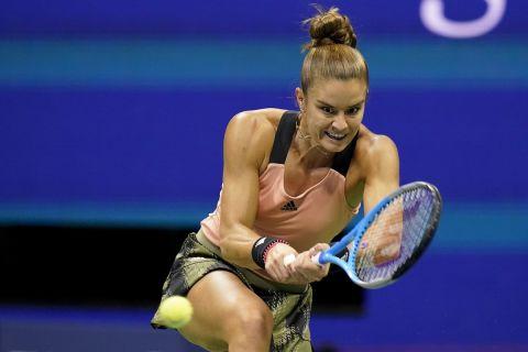 Η Μαρία Σάκκαρη κατά τη διάρκεια του ημιτελικού του US Open με αντίπαλο την Έμα Ραντουκάνου | 9 Σεπτεμβρίου 2021