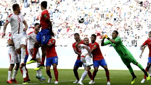 Costa Rica goalkeeper Keylor Navas jumps for the ball during the group E match between Costa Rica and Serbia at the 2018 soccer World Cup in the Samara Arena in Samara, Russia, Sunday, June 17, 2018. (AP Photo/Mark Baker)