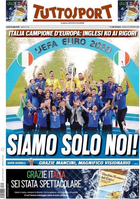 Το πρωτοσέλιδο της Tuttosport μετά την κατάκτηση του Euro 2020 από την εθνική Ιταλίας