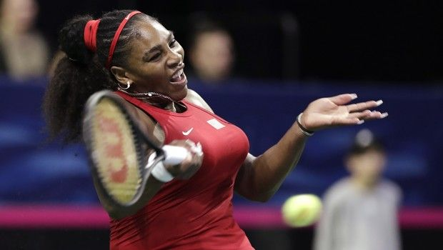 United States' Serena Williams returns a shot against Latvia's Anastasija Sevastova during a Fed Cup qualifying tennis match Saturday, Feb. 8, 2020, in Everett, Wash. (AP Photo/Elaine Thompson)