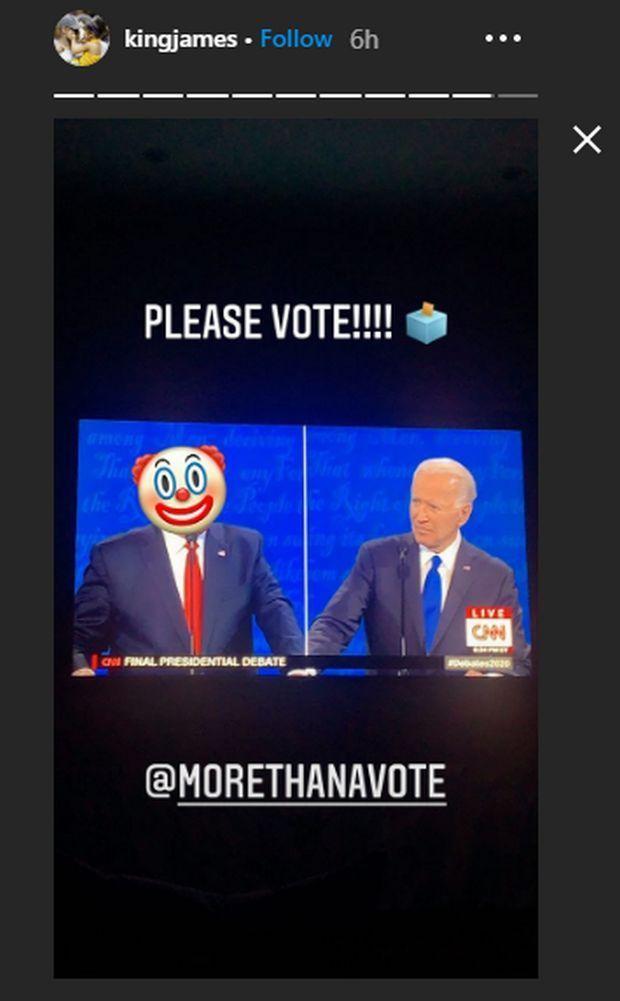 Το Insta Story του Λεμπρόν για Τραμπ και Μπέιντεν κατά την διάρκεια του debate των δύο πολιτικών
