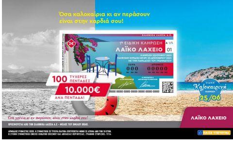 Λαϊκό Λαχείο: Ειδική καλοκαιρινή κλήρωση την Παρασκευή 25 Ιουνίου – Μοιράζει 10.000 ευρώ σε 100 τυχερούς και πολλά άλλα έπαθλα