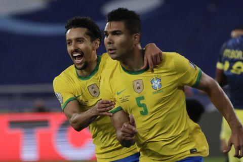 Ο Κασεμίρο πανηγυρίζει το γκολ του στο Κολομβία - Βραζιλία για το Copa America.