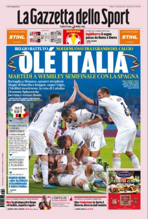 Το πρωτοσέλιδο της Gazzetta Dello Sport