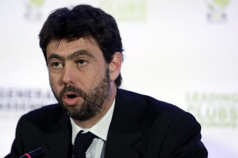 Andrea Agnelli president of the Italian soccer club Juventus speaks during a news conference in Athens, Tuesday, March 28, 2017. Representatives from 155 countries attended the European Club Association's (ECA) 18th General Assembly in the Greek capital. (AP Photo/Thanassis Stavrakis)