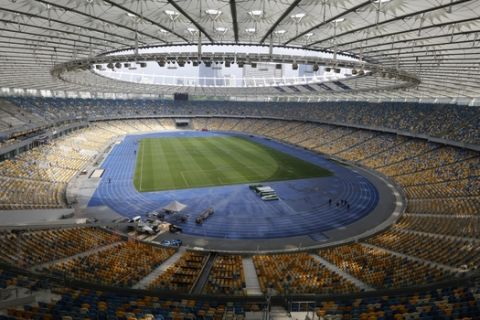 A view inside the Olympic national stadium in Kiev, Ukraine, Monday, May 14, 2018. Liverpool will take on Real Madrid in the Champions League Final on May 26 at the Olympiyski stadium in Kiev. (AP Photo/Efrem Lukatsky)