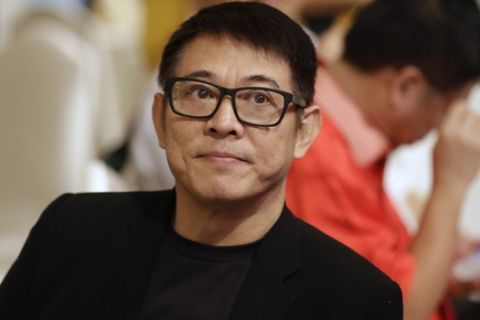 Chinese actor Jet Li attends the opening ceremony of the 13th Wushu World Championships in Jakarta, Indonesia, Friday, Nov. 13, 2015. (AP Photo/Dita Alangkara)