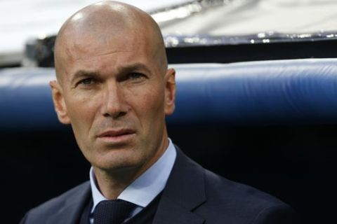Real Madrid coach Zinedine Zidane arrives for the Champions League semifinal second leg soccer match between Real Madrid and FC Bayern Munich at the Santiago Bernabeu stadium in Madrid, Spain, Tuesday, May 1, 2018. (AP Photo/Francisco Seco)