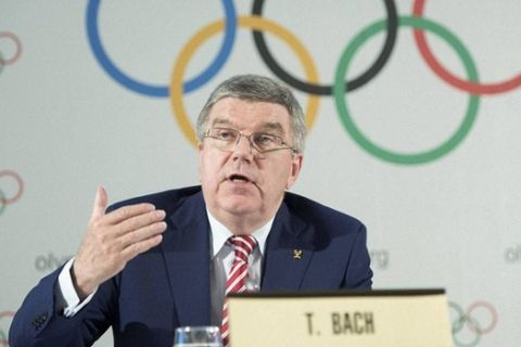 International Olympic Committee (IOC) president Thomas Bach, from Germany, speaks during the closing of the executive board meeting of the IOC in Lausanne, Switzerland, Friday, June 3, 2016. (Martial Trezzini/Keystone via AP)(AP6_3_2016_000212A)