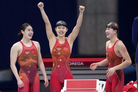 Οι κολυμβήτριες της Κίνας στα 4Χ200μ ελεύθερο στους Ολυμπιακούς Αγώνες της Κίνας