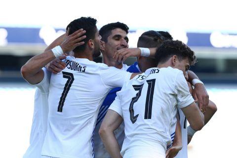 Οι παίκτες της Εθνικής πανηγυρίζουν το γκολ του Μασούρα από τη Νορβηγία /6 Ιουνίου 2021
