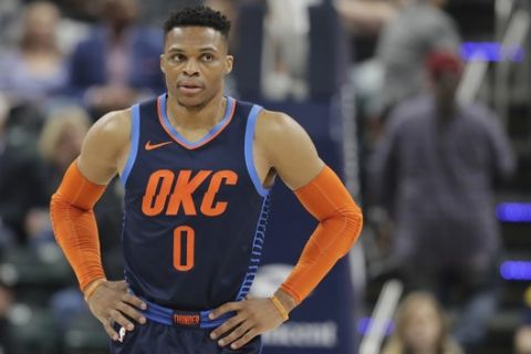Oklahoma City Thunder's Russell Westbrook (0) in action during the first half of an NBA basketball game against the Indiana Pacers, Thursday, March 14, 2019, in Indianapolis. (AP Photo/Darron Cummings)